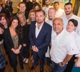 Image of Leonardo Dicaprio visiting Maison Bleue, one of the best restaurants in Edinburgh.