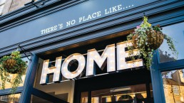 Image of exterior of 'Home' restaurant, part of Maison Bleue restaurants in Edinburgh